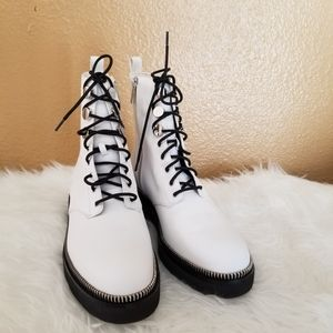 Michael Kors Leather White Combat Boots 10